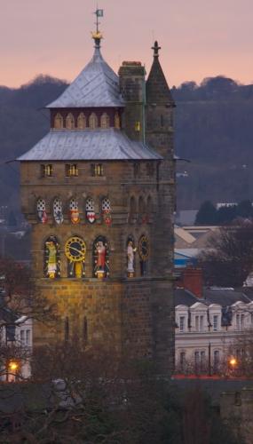 Cardiff Castle, clocktower, sunset