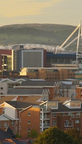 Cardiff skyline, Millennium Stadium, new apartments and office buildings
