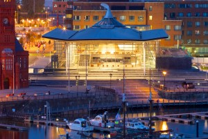 Cardiff Bay, Inner Harbour, boats in front of Welsh Assembly Senedd during Cardiff Bay Harbour Festival