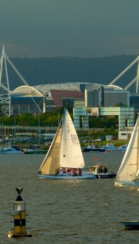 Cardiff Bay, sailing yachts, Millennium Stadium